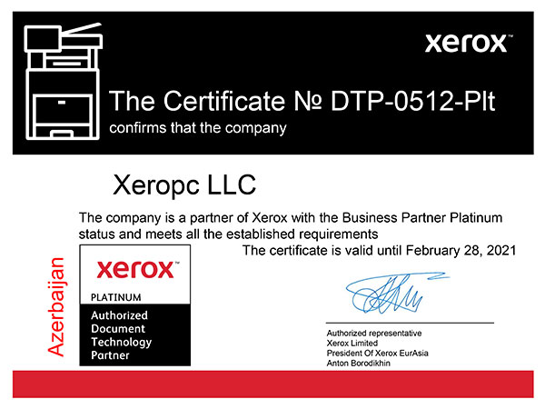 Certificate The company XEROPC is a partner of Xerox with the Business Partner Platinum status