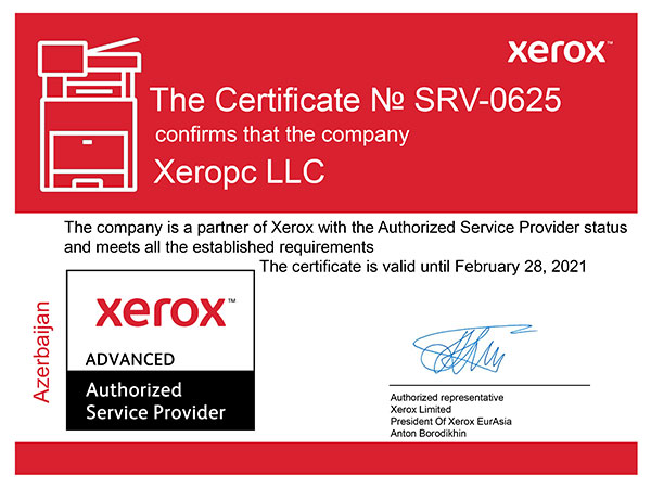 Certificate The company XEROPC is a partner of Xerox with the Authorized Service Provider status